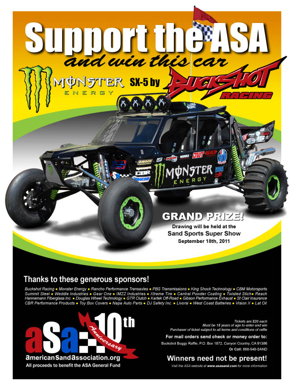 Support the American Sand Association and win a brand new Monster Energy SX-5 by Buckshot Racing